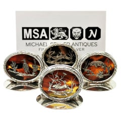 Set of 4 Antique Silver & Tortoise Shell Menu Place Card Holders 1915 -16