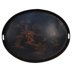 Vintage Chinese Black and Gold Tole Lake Scene Oval Tray