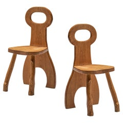 Pair of Sculptural French Dining Chairs in Solid Oak