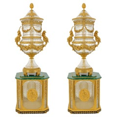Pair of Large Neoclassical Style Crystal & Ormolu Mounted Vases on Pedestals