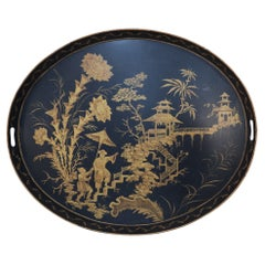Vintage Chinese Oval Black and Gold Tole Floral Walkway Design Tray