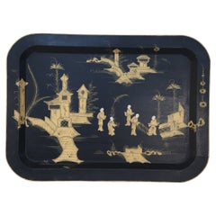 Vintage Chinese Rectangular Tole Black and Gold Monestary Scene Tray