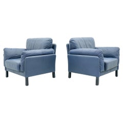 Pair of Blue Leather Lounge Chairs by Dreipunkt International
