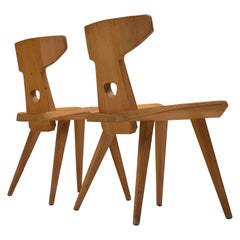 Jacob Kielland-Brandt Set of Two Dining Chairs in Solid Pine