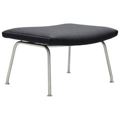 CH446 Footrest in Stainless Steel with Fiord 591 Fabric Seat by Hans J. Wegner