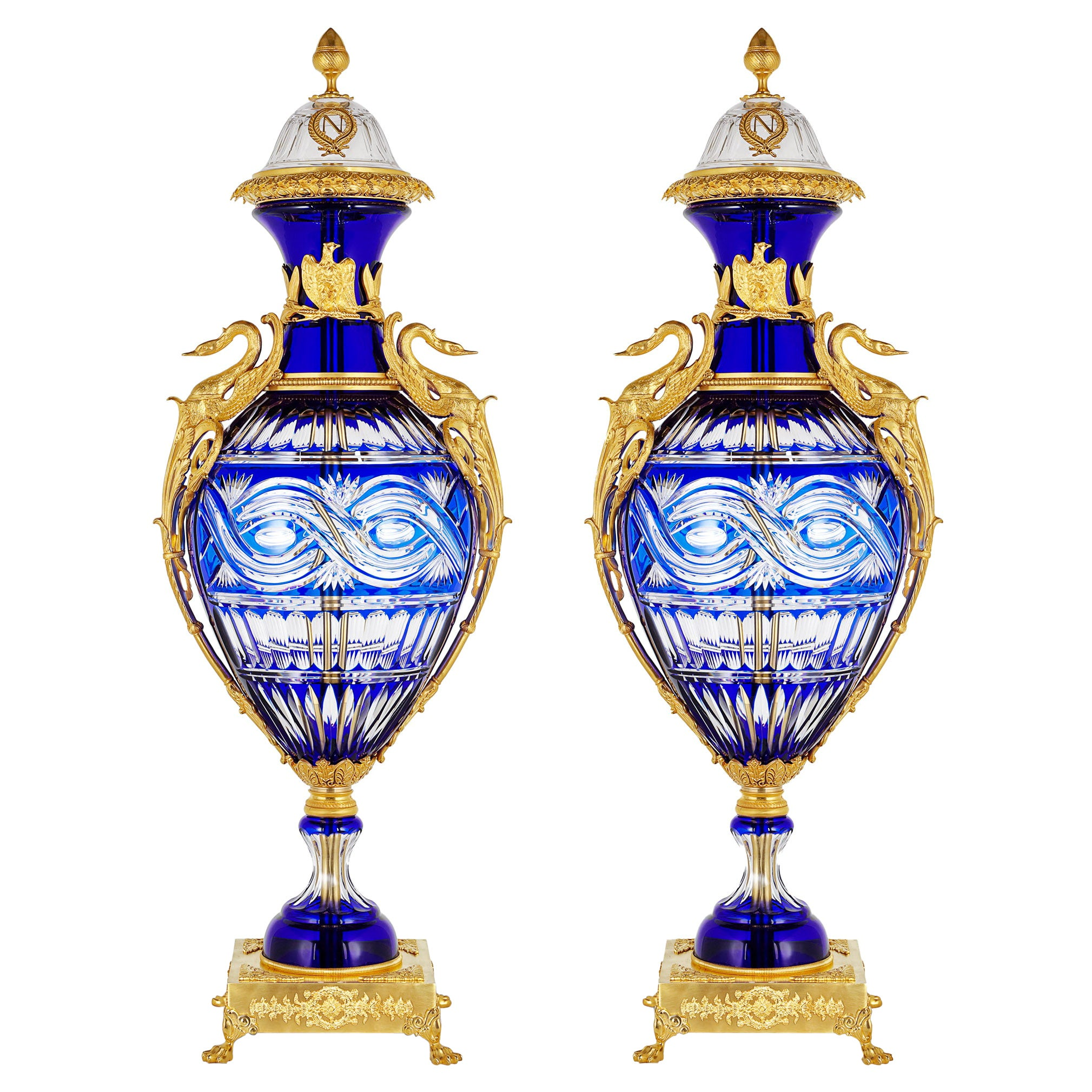 Pair of Large Neoclassical Style Cut Glass & Ormolu Vases