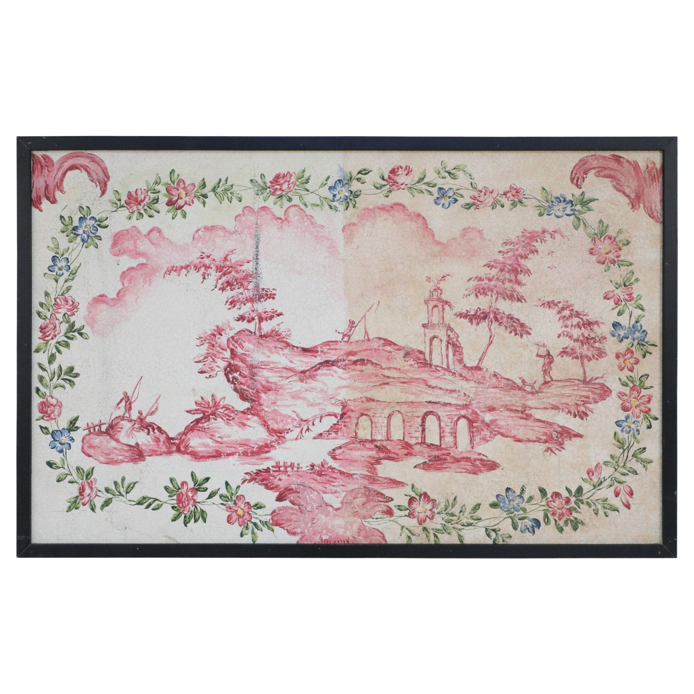 Framed Pink and Green Painted Panel Depicting a Chinese Landscape