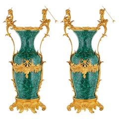 Pair of French Empire Style Malachite & Gilt Bronze Cherub Vases