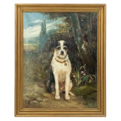19th Century French Victorian Terrier Oil Painting Signed