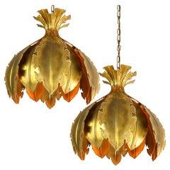 Pair of Svend Aage for Holm Sorensen Brutalist Acid Treated Brass Pendant Lamps