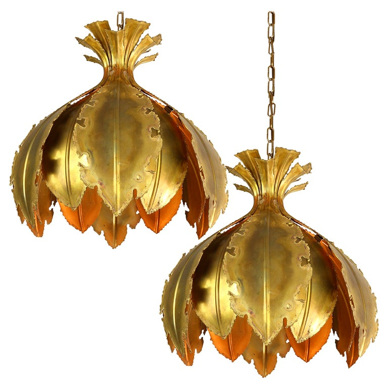 Pair of Svend Aage for Holm Sorensen Brutalist Acid Treated Brass Pendant Lamps For Sale