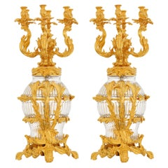 Pair of Large Rococo Style Rock Crystal & Gilt Bronze Six Lights Candelabras