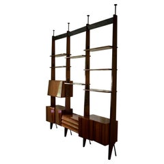 Floor to Ceiling Shelving System Attributed to Dassi, Italy 1950s