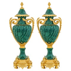 Pair of French Neoclassical Style Large Malachite & Gilt Bronze Gadroon Vases