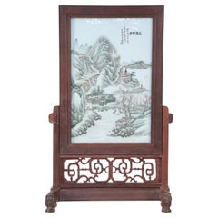 Antique Chinese Painted Porcelain Plate and Wood Vanity Mirror