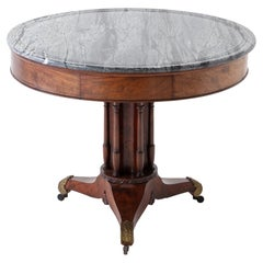 Early 19th Century French Mahogany Circular Table with Marble Top
