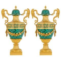 Pair of Empire Style Malachite & Gilt Bronze Dragon Vases