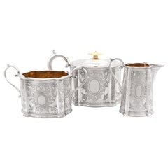 Antique Victorian Sterling Silver Three Piece Tea Service