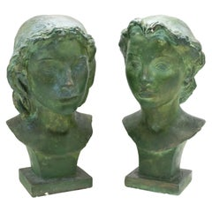 French Art Deco Patina Lady Busts