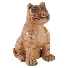 Chinese Macau Brown Porcelain Tiger Statue