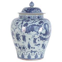 Chinese White and Blue Figurative Porcelain Ginger Jar