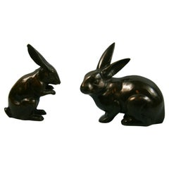 Pair Japanese Hand Cast Playful Rabbits from Old Japan