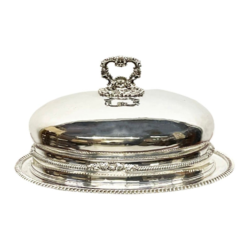 Large Oval Domed Dish or Food Cover, Silver Plated