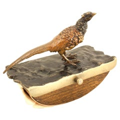 2-Piece French Victorian Bronze Pheasant Inkwell