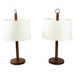 Pair of Art Deco Wooden Table Lamps, 1940s