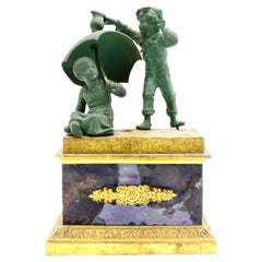 French Victorian Inkwell with Bronze Figures
