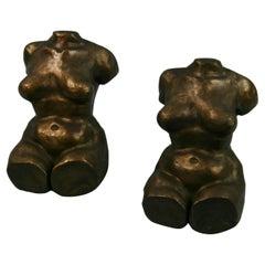 Art Deco Cast Bronze Reclining Nude Sculptures/Bookends
