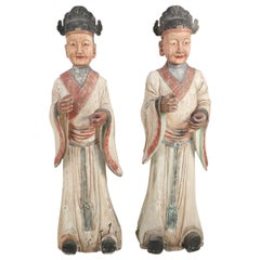 Pair of Chinese Wooden Civil Officer Statues