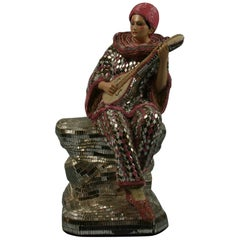 Large Mirror and Beaded Mosaic Guitar Playing Female Sculpture
