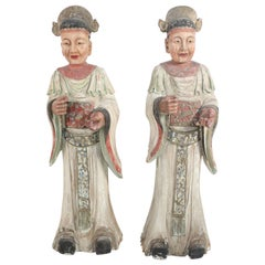 Pair of Chinese Carved Wood Civil Officer Statues