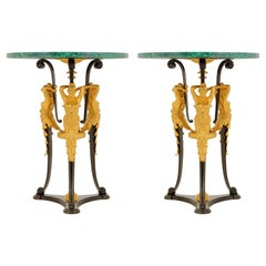 Pair of French Neoclassical Malachite and Gilt Bronze 3 Maidens Side Tables