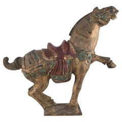 Chinese Hand-Carved Wooden Horse Figure