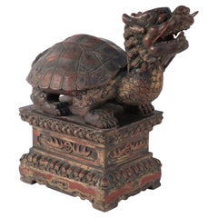 Antique Chinese Carved Wooden Longgui Dragon Turtle Sculpture