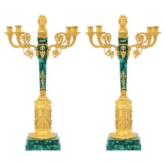 Pair of Neoclassical Gilt Bronze & Malachite Four Branches Candelabras