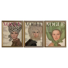 1960s Vogue Magazine Framed Covers, Set of 3