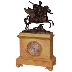 19th Century French Bronze, Ormolu and Sienna Marble Mantel Clock