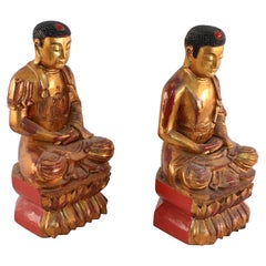 Pair of Chinese Gold Wooden Buddha Statues