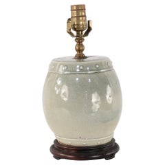 Chinese Gray Barrel Porcelain Table Lamp