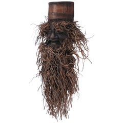 Chinese Carved Bamboo Root Face Wall Hanging
