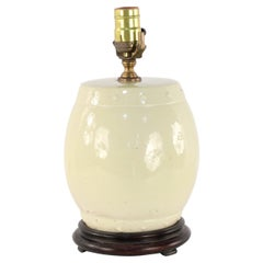 Chinese Yellow Barrel Porcelain Table Lamp