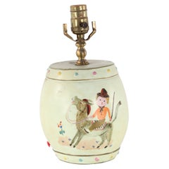 Chinese Pale Green Children's Play Scene Table Lamp