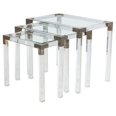 Set of 3 French Mid-Century Lucite & Metal Nesting Tables, Manner of Maison