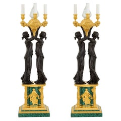 Pair of French Neoclassical Malachite & Gilt Bronze Two Maidens Floor Torches