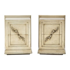 Spectacular Pair of Rare James Mont Scroll Cabinets