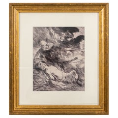 Vintage Pen and Ink Drawing in a Gilt Wood Frame