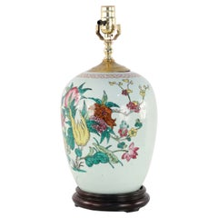 Chinese White Floral Patterned Porcelain Table Lamp